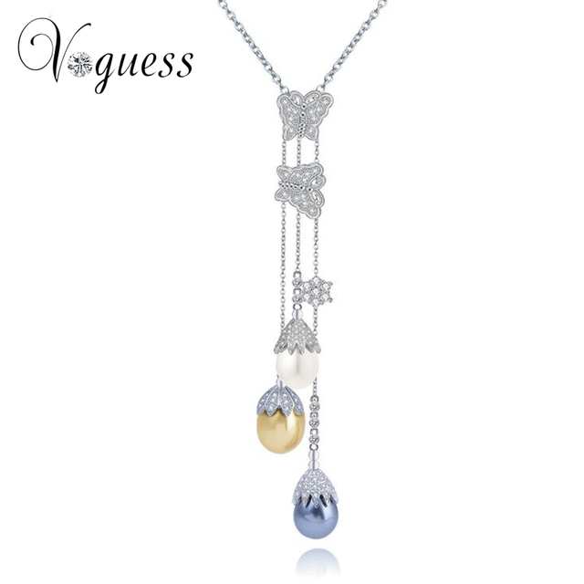 Voguess projeto o mais novo simulado pingente de pérola colar branco banhado a ouro de cadeia longa camisola mulheres colar de casamento