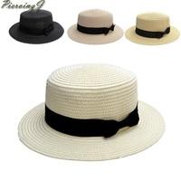 Wholesale 10pcs Latest Unisex Womens Men Summer Beach Trilby Floppy Fedora Straw Bow Round Sun Hat for seaside