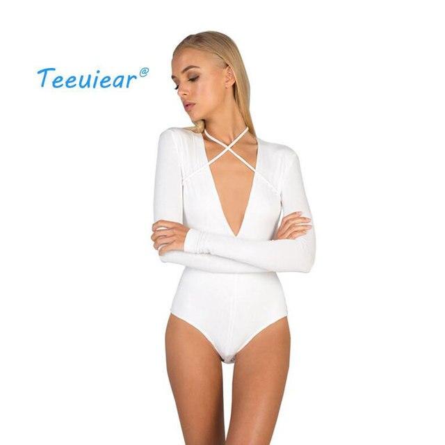 ed9b52f8103c € 8.98 50% de DESCUENTO|Nuevo Casual Body blusa camisa mujer moda Bodycon  vendaje cuello en V Top negro blanco manga larga Bodysuit Lace Up Sexy ...