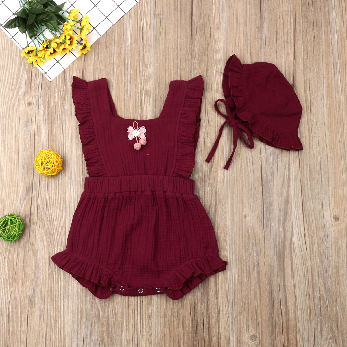 Pudcoco Newborn Baby Girl Clothes Solid Color Sleeveless Ruffle Romper Jumpsuit Hat 2Pcs Outfits Cotton Clothes