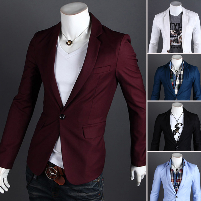 2015 Spring New Candy Color Suit And Fashionably Slim Fit Mens Wild Dress Casual Business Dress Blazer Jacket
