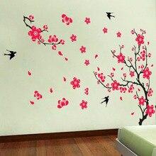 1 satz Große Swallow Plum Blossom Wandaufkleber für Bett Zimmer Dekoration & PVC Abziehbild Kirschblüte Aufkleber