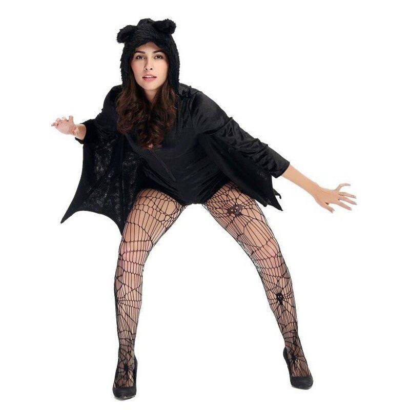 mujeres negro con capucha bat traje adulto de halloween tema animal del partido de cosplay vestir