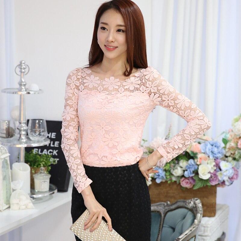 2016 New Ladies Oversize Flora Lace Shirt Korean Design Long Sleeve ...