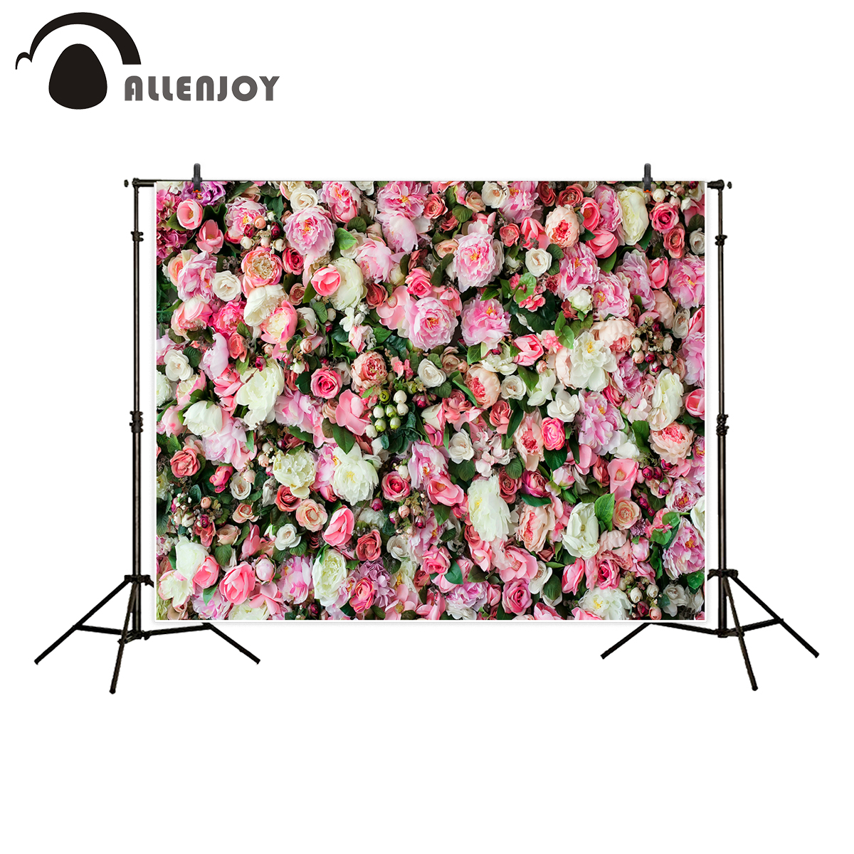 Allenjoy photographic background colorful flower wall wedding decoration backdrop photobooth photo studio professional