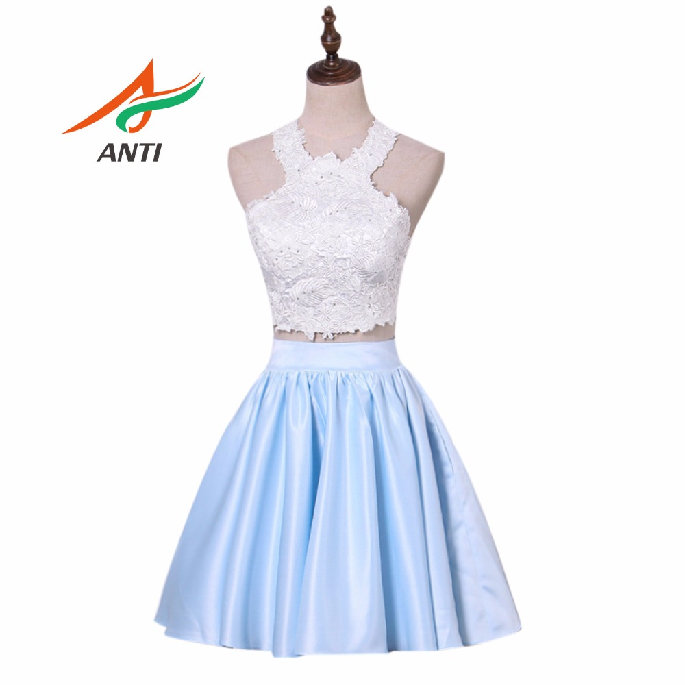 ANTI High Quality Blue Two Pieces Junior High Graduation Dresses 2018 White And Blue Crystal Homecoming Dress Short Party Dress