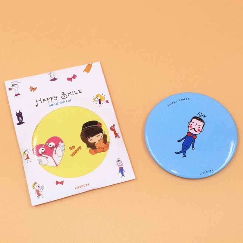 1 шт. милый мультфильм мини портативный круговой ручной зеркало Карманный портативный инструмент для макияжа