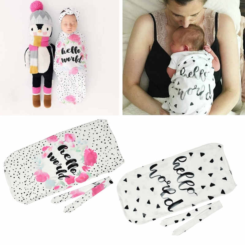 Infant Newborn Toddler Swaddle Blanket Baby Sleeping Bag Headband Hello World