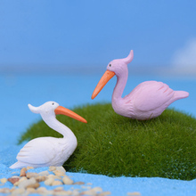 Elegant Flamingo Lucky Bird Model Small Statue Figurine Micro Crafts Ornament Miniatures DIY Home Garden Decor Doll Toy