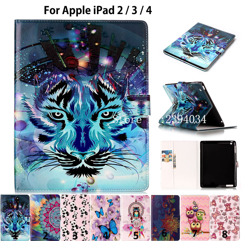 Fashion Animal Case for Apple ipad 2 ipad 3 ipad 4 Tablet Case Smart Cover Funda Silicon PU Leather Flip Folio Stand Skin Shell tablet case for apple ipad mini 1 2 3 flip stand star wars rogue one movie print pu leather tablet cover shell coque para capa
