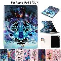 Fashion Animal Case For Apple Ipad 2 Ipad 3 Ipad 4 Tablet Case Smart Cover Funda