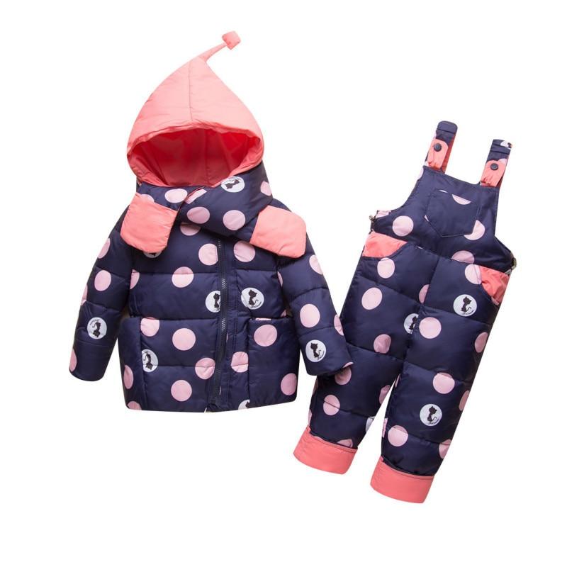 2018 Winter Ski Suit for Girls Parka Down Jackets Children Clothing Set Kids Snowsuit Baby Girl Coat+bib Pants Outerwear Overall все цены