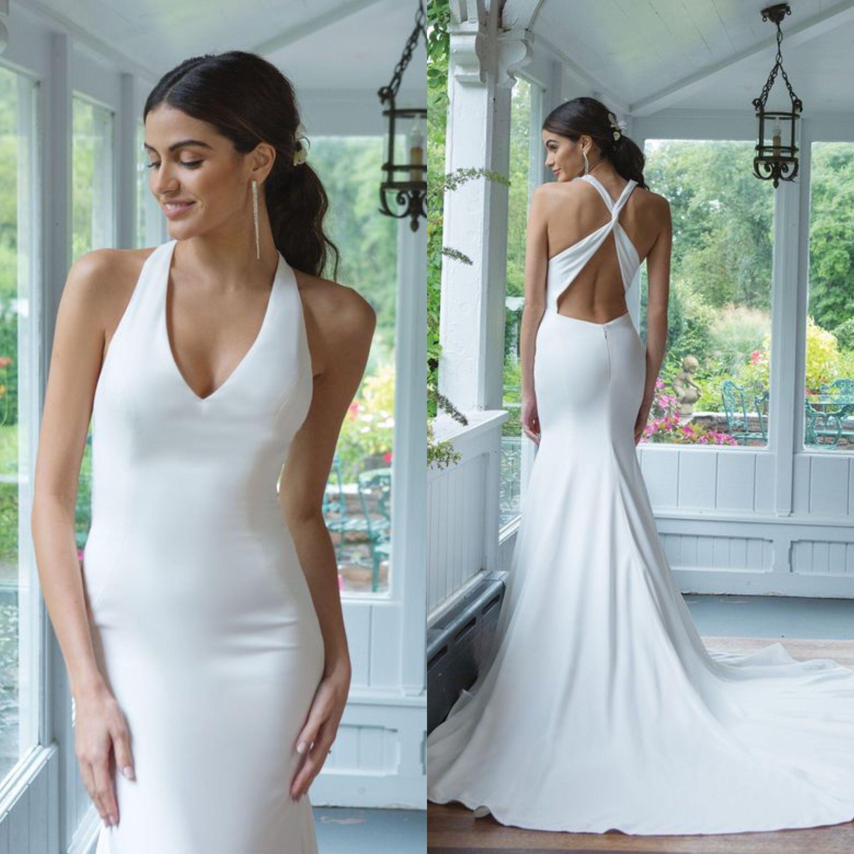 Robe de mariée blanche licou gaine robe en Satin sangle croisée dos robes de mariée élégantes robes de mariée 2019 vestidos de novia