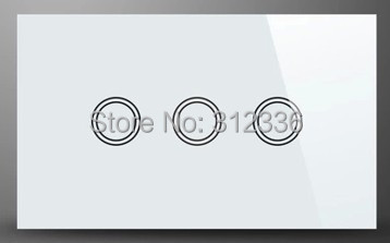 Livraison gratuite 120 MM Verre interrupteur mural tactile basculer le panel 3 gang 2 way Trois sur Double contrôle la trempe du verre épaisseur 4mm