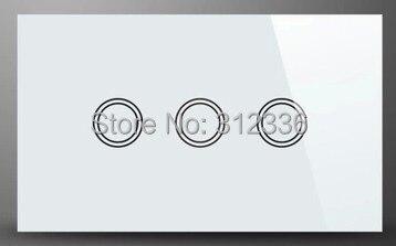 Livraison gratuite 120 MM interrupteur mural verre tactile interrupteur panneau 3 gang 2 voies trois sur Double contrôle trempe verre épaisseur 4mm