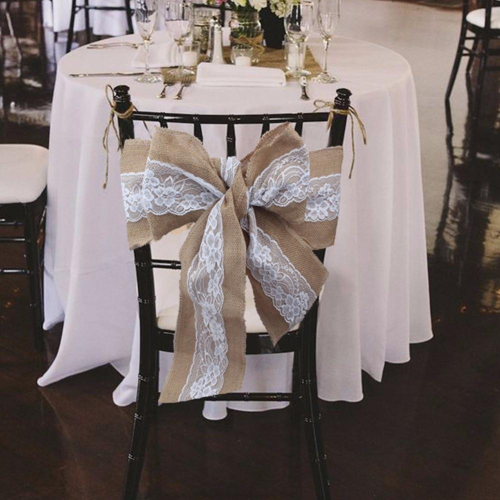 Ourwarm 10ピース275 × 15センチレース黄麻布椅子サッシカバーヘッセ行列ジュートリネン素朴なネクタイちょう結びウェディングパーティー椅子の装飾  グループ上の ホーム&ガーデン からの サッシュ の中 1