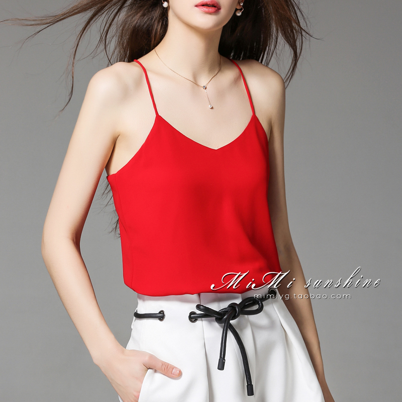 NAGODO Silk Tank Top Women 2018 New High grade Sling Loose Camisole V Neck Chiffon Crop Top Summer Tops 7 colors Plus size 2XL
