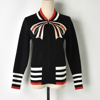 2018 Women Knit Baseball Jacket Bow Embroidery Striped Zipper Red Sweater Jacket Multi Color Runway Warm Knitted Cardigan Coat
