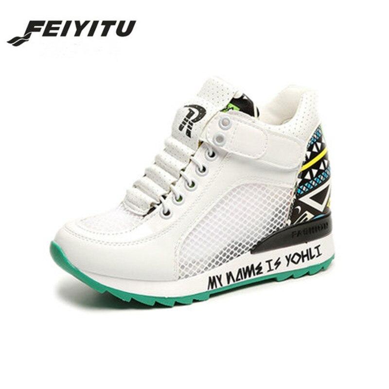 Mesh Boucle forme Sneaker Loisirs Sneakers Femme 2018 Crochet Talon Plate blanc Casual D'été Printemps Chaussures Argent Respirant Wedge Feiyitu zZCqx