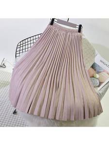 sherhure 2019 Long Pleated Skirts Vintage Women Midi Skirt