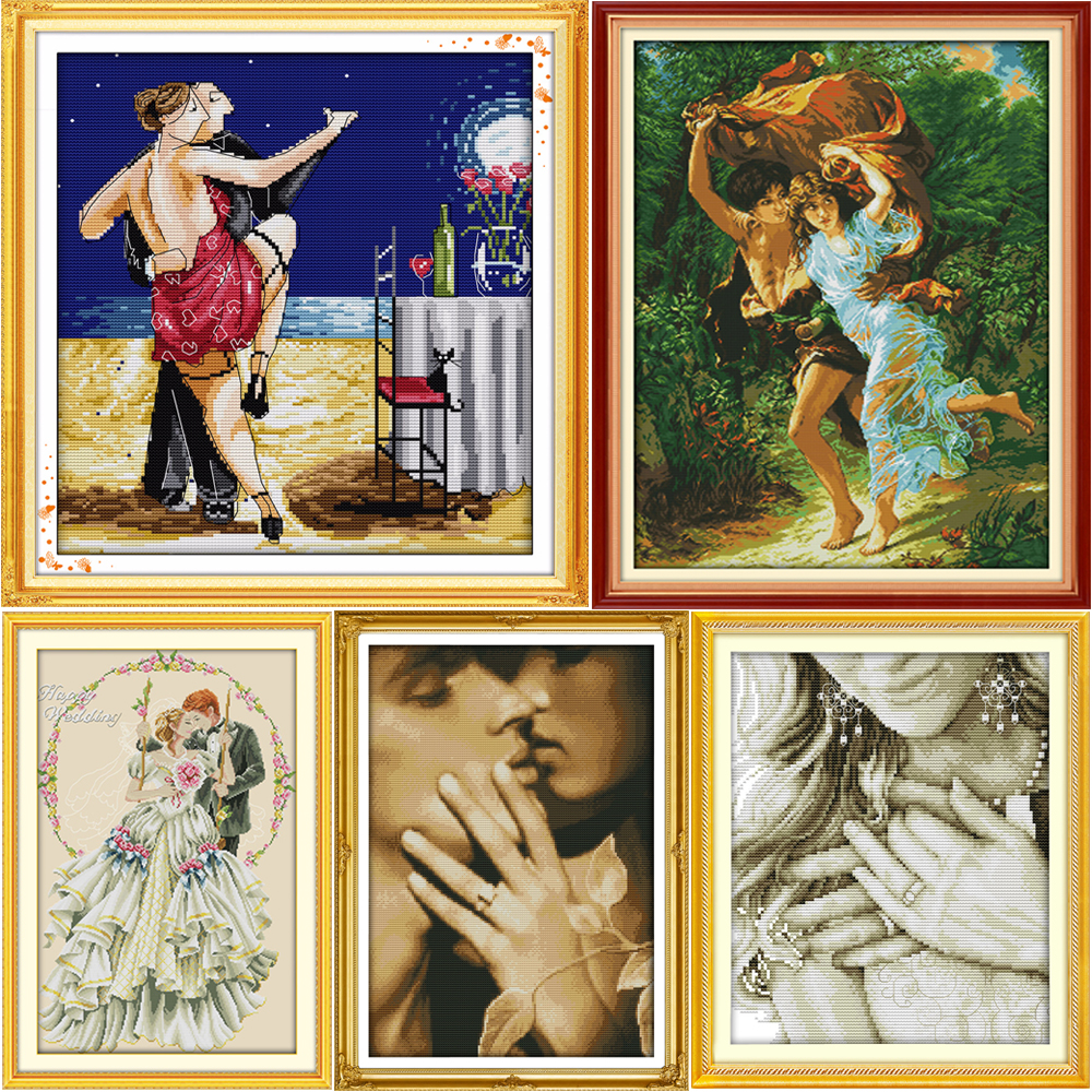 Joy Sunday Love Story Räknade Cross Stitch Kit DMC Stamped Cross Stitch Pattern Printed Crossstitch Set Broderi Needlework