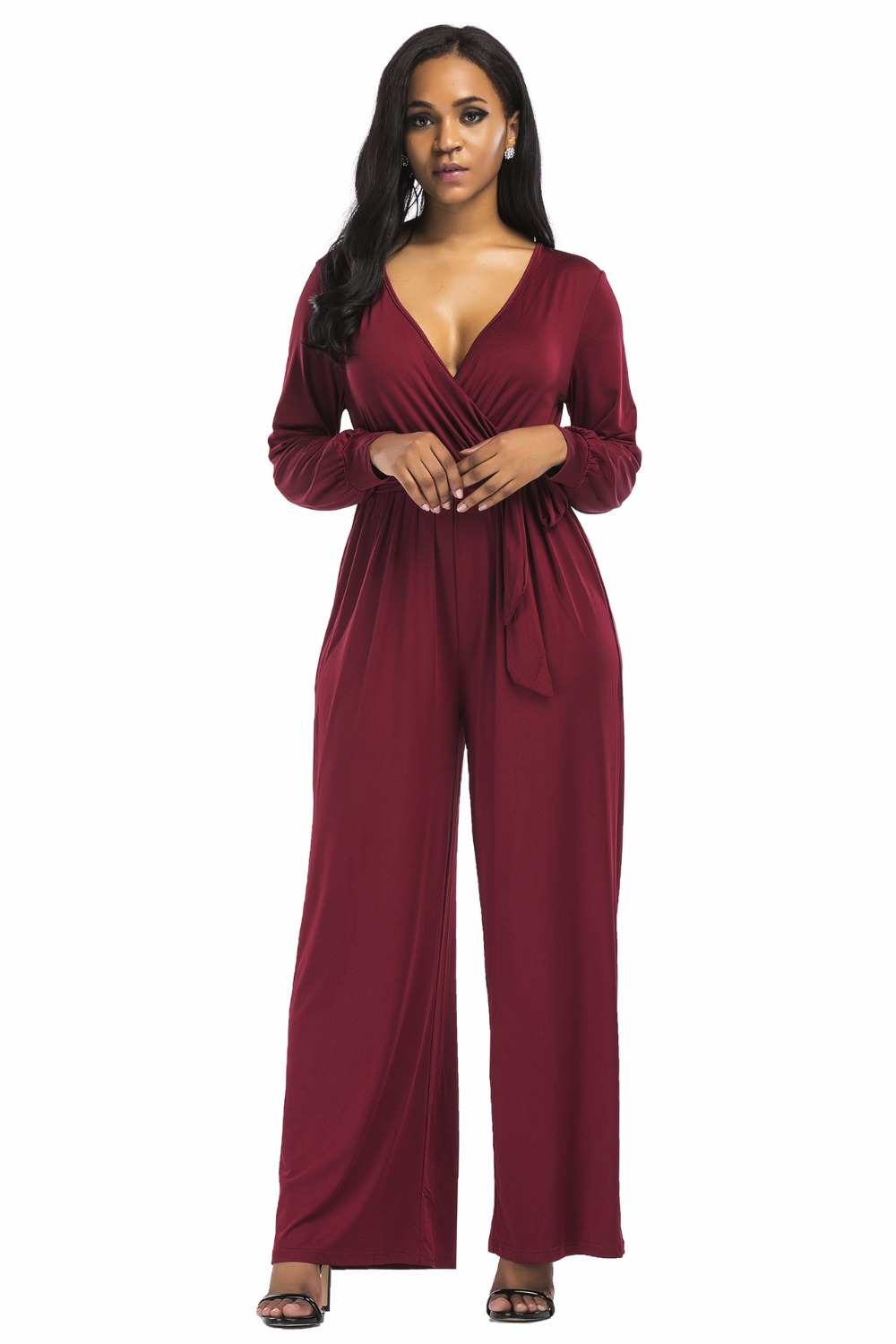 7603e2aab1ae Loose Wide Leg Women Jumpsuit Sexy Club Stretch Female Siamese Trousers  Long Sleeve V Neck Bodysuit Solid Elastic Waist Rompers