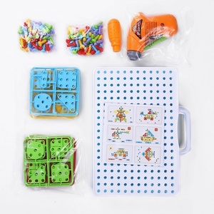 Image 5 - Children Drill Games Creative Mosaic Building Puzzle Set Intellectual Educational Toys Electric Screws Nuts Tools Kit for Boys