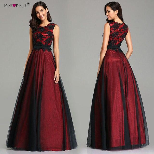 Robe de Soiree Longue Elegant Black Lace Red Prom Dress Long Cheap Appliques Chiffon Evening Gowns Vestido de Festa 1