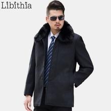 Мужчины Полушерстяные Мода Длинные Пальто Съемный Меховой Воротник Пальто Большой Размер L-4XL Кнопки Зимняя Одежда Мужчины Темно-Серый K271