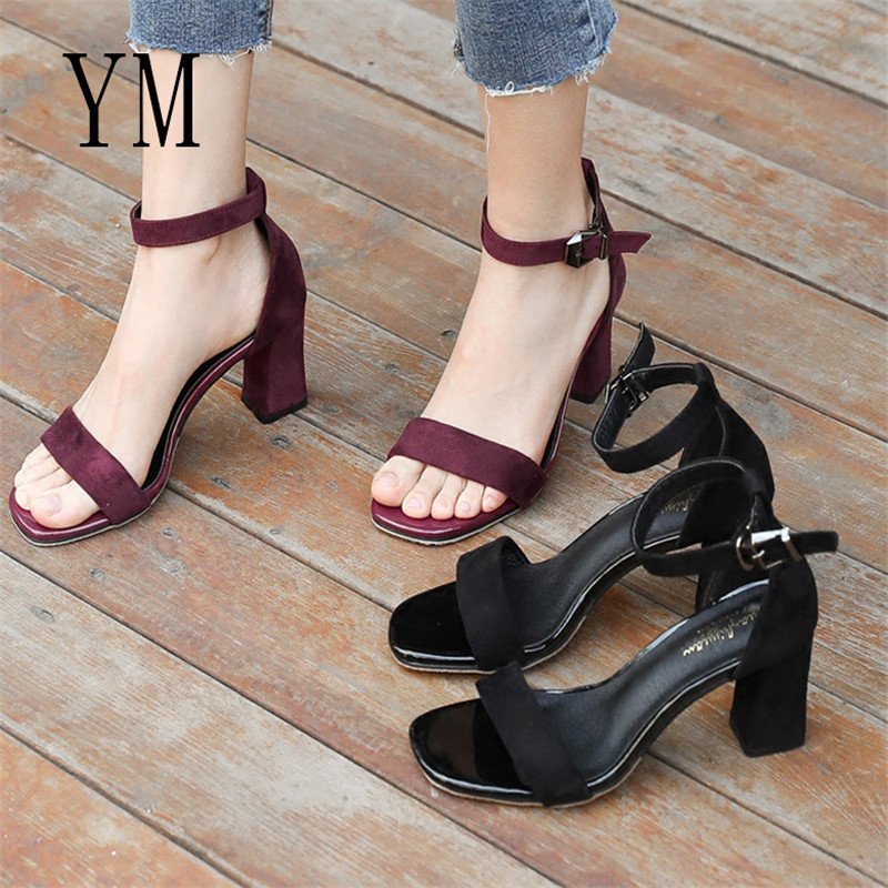 Ladies Ankle-Wrap Shoes 2019 Summer Gladiator Sandals Women Square heel Sandals Party Wedding Shoes Ladies Sandals 318Ladies Ankle-Wrap Shoes 2019 Summer Gladiator Sandals Women Square heel Sandals Party Wedding Shoes Ladies Sandals 318