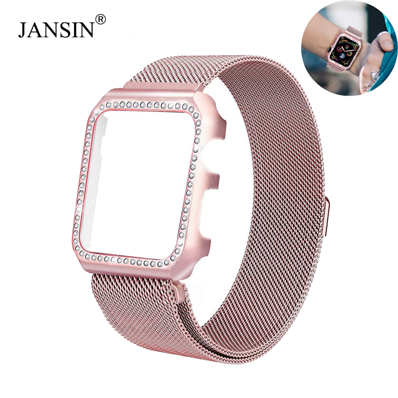 Strap+Diamond Case For Apple Watch 38mm 40mm 44mm 42mm Stainless Steel Strap Milanese Loop Bracelet For IWatch 4 3 2 1 Bands