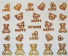 gold teddy bear design Water Transfer Nails Art Sticker decals lady women manicure tools Nail Wraps Decals XF6008