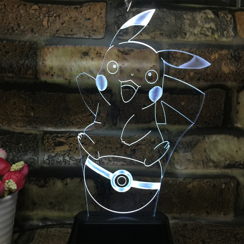 Anime Pikachu figurine 3D LED Lamp Light USB Colorful toy for Wedding Deco Innovative birthday part Christmas Gift