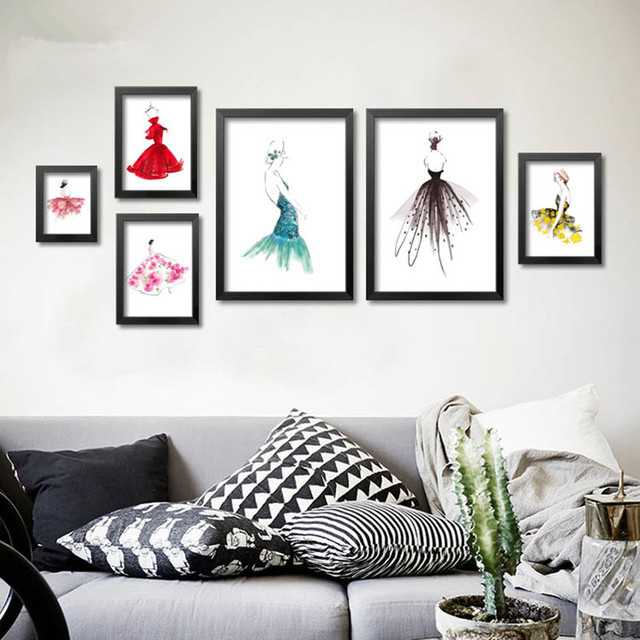 Frameless Fashion Abstract Watercolor Dress Art Canvas Prints And Posters  Wall Art Painting For Clothing Store