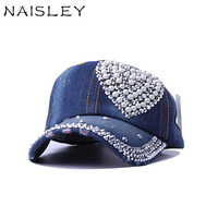 Naisley бренд Кепки Регулируемая шику горный хрусталь хип-хоп Snapback шляпа для Для женщин Повседневное Полный Кристалл Цветочный деним Бейсбол К...