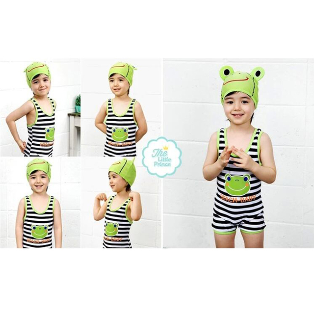 New Cute Cartoon Animal Frog Kids One Piece Beachwear