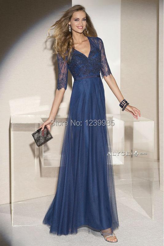 Robe de soiree longue bleu dentelle applique