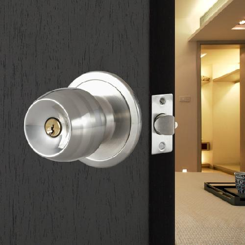 Stainless Steel Round Door Knobs Handle Entrance Passage Lock Entry with Key New 1pcs 304 stainless steel tube wells lock entrance privcy passage fire invisible door lock security door lock
