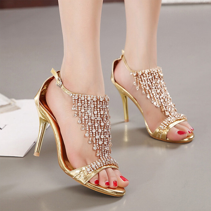 New Design Ladies Sexy Stilettos High Heels Women Shoes Pumps Faux Rhinestone Wedding Party Sandals Silver Gold 8