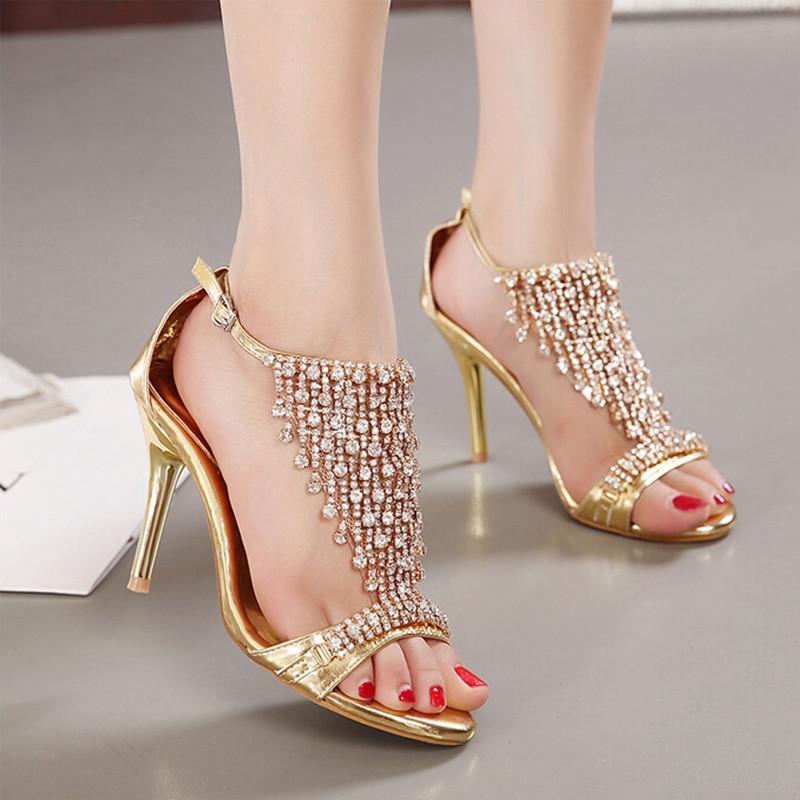New Design Ladies Sexy Stilettos High Heels Women Shoes Pumps Faux Rhinestone Wedding Party Sandals Silver Gold 5