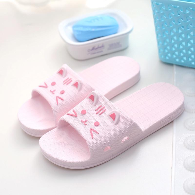 New Slippers Non slip Couple Bathroom Slippers Female Summer Korean Home Indoor Sandals and Slippers PVC Slippers Woman Shoes in Slippers from Shoes