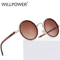 WILLPOWER Women Round Sunglasses Fashion Brand Designer Tortoise Frame Gradient Lens Sun Glasses