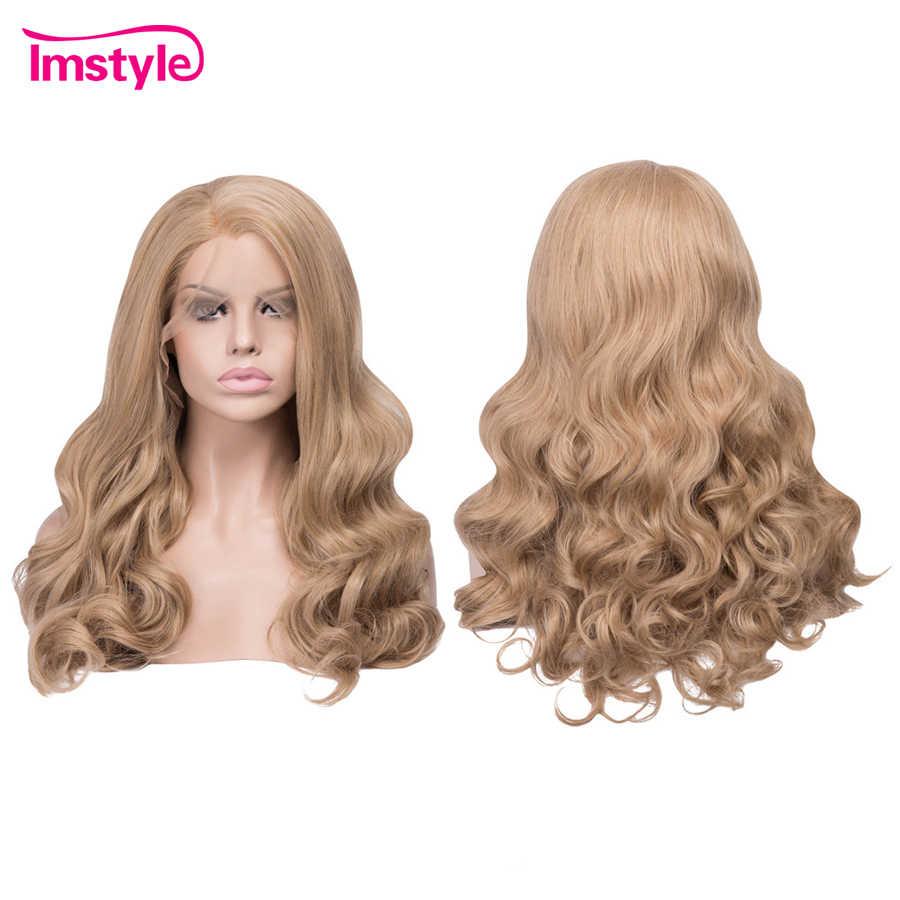 Imstyle медовые светлые парики, синтетический парик на кружеве, волнистые парики для женщин, термостойкие волокна, бесклеевые натуральные волосы, парик для косплея