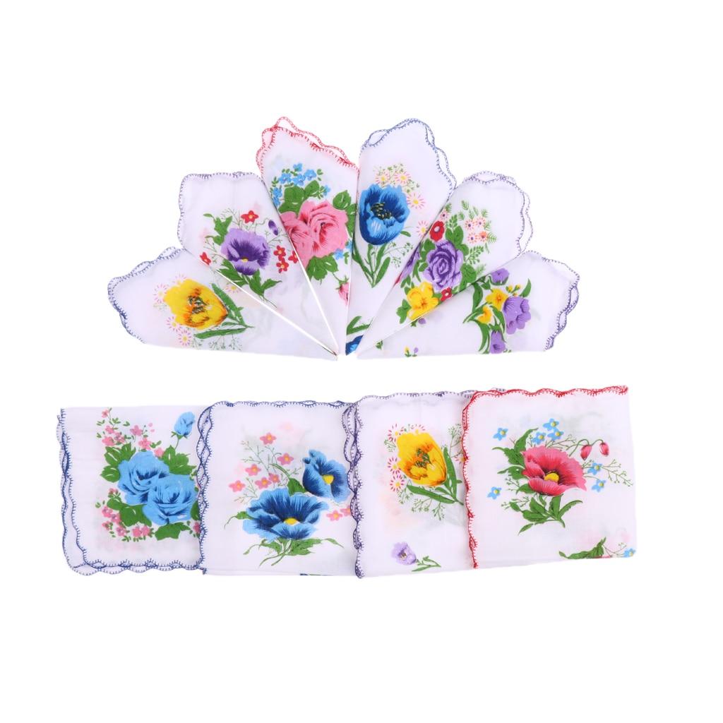 10pcs Wholesale Women 100% Cotton White Handkerchiefs Assorted Colourful Flowers Wavy Edge Ladies Hankies Gift For Wedding Party