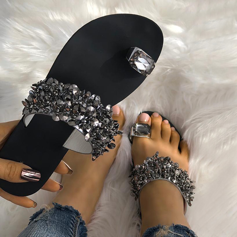 2019 Women Shoes Sumnmer Slippers Flip Flops Crystal Sandals Outside Shoes Flat Heel Sandalias Mujer