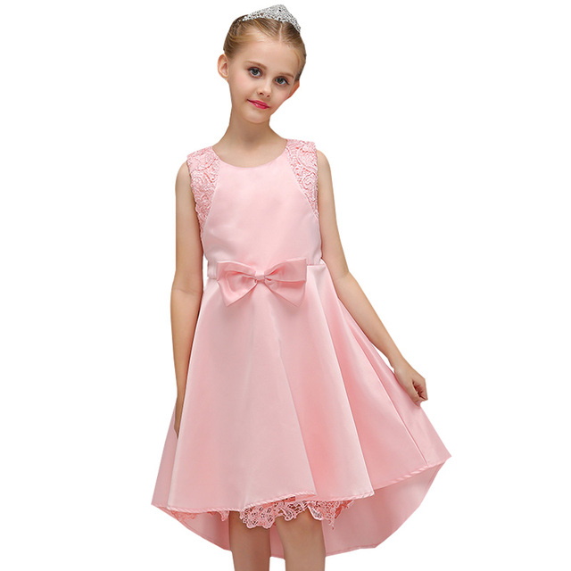 823f8ab635e Retail Lace Hemline Western Style Kid Girls Evening Party Dress With Bow  Cute Girls Summer Trailing