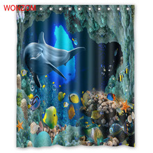 WONZOM 3D Polyester Fabric Seascape Shower Curtains Bathroom Waterproof Accessories With 12 Hooks For Decor Modern Bath Curtain