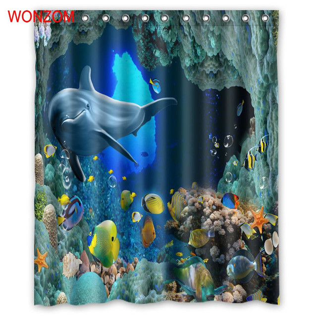 WONZOM 3D Polyester Fabric Seascape Shower Curtains Bathroom Waterproof Accessories With 12 Hooks For Decor Modern