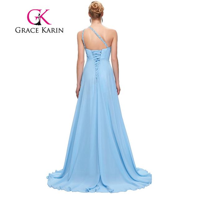 Grace Karin Bridesmaid Dresses One Shoulder Pink Purple Mint Green Floor Length Chiffon Long Bridesmaid Dress Gowns Beading 2017