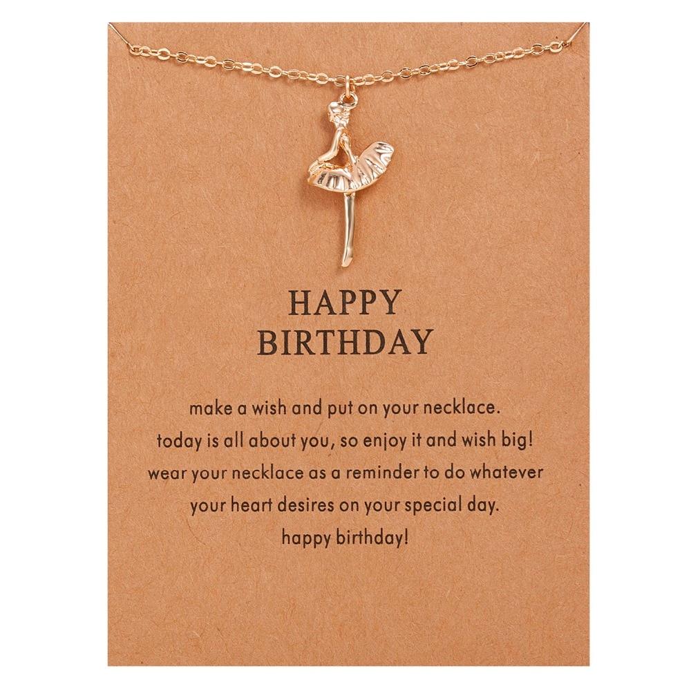 Колье с подвеской для девушки, с золотым покрытием, с днем рождения, балетное ожерелье из сплава, подвеска на ключицы, короткое колье
